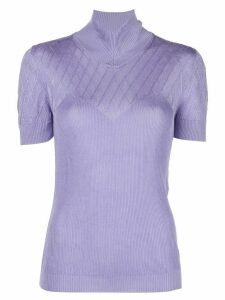 Paco Rabanne ribbed mock-neck top - PURPLE
