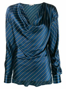 Gold Hawk striped cowl neck blouse - Blue