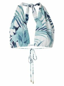 Osklen Hibisco print cropped top - Blue