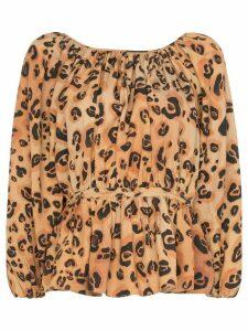 Mara Hoffman maud leopard print peplum top - Brown
