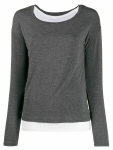 Majestic Filatures jersey stretch layered top - Grey