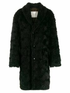Mackintosh single-breasted teddy coat - Black