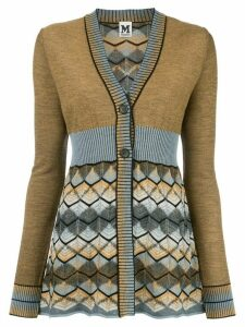 M Missoni panelled zig-zag knit cardigan - Brown