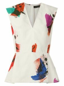 Andrea Marques abstract print pleated blouse - White