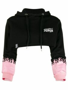 Vision Of Super flame print cropped hoodie - Black