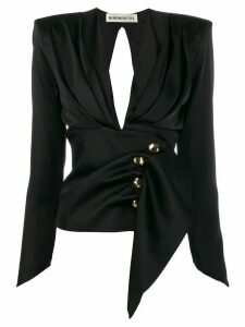 Nineminutes fitted-waist long sleeve blouse - Black
