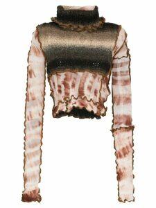 ASAI contrast panel tie-dye top - Brown