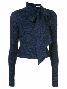 Alice+Olivia DELAINA TIE NK LS CROP TOP - Blue