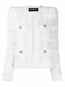 Balmain button detailing textured fitted jacket - White