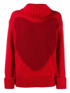 Escada oversized heart intarsia jumper - Red