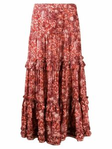 Ulla Johnson floral print maxi skirt - Red