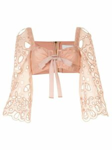 Alice McCall embroidered Baudelaire crop top - PINK