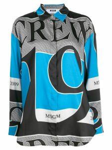 MSGM crew print shirt - Blue