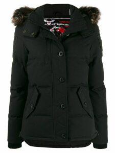 Moose Knuckles faux fur trimmed puffer jacket - Black