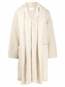 loose-fit hooded cardigan - NEUTRALS