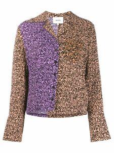 Nanushka contrast animal-print shirt - Brown