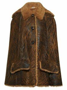 Miu Miu shearling-lined cape - Brown