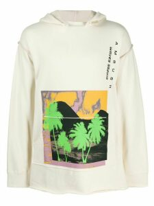 Ambush Waves printed cape hoodie - NEUTRALS