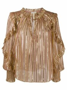 Ulla Johnson Lucinda lurex striped blouse - PINK