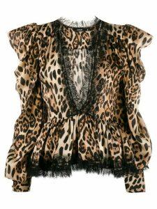 Amen leopard print blouse - Brown