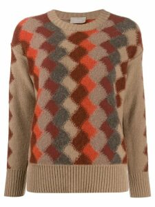 Drumohr diamond knit crew neck sweater - Brown