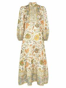 Zimmermann paisely-print cotton midi dress - ORANGE