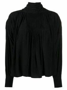 Isabel Marant silk stand-up neck gathered blouse - Black