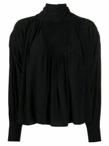 Isabel Marant silk stand-up neck gathered blouse - Black