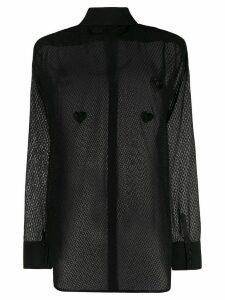 Silvia Astore sheer long-sleeved blouse - Black