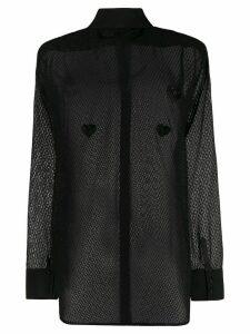 Silvia Astore sheer long-sleeved blouse - Black