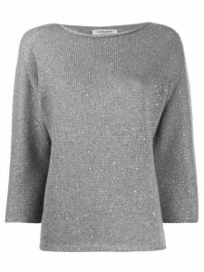 La Fileria For D'aniello three-quarter sleeve fitted top - Grey