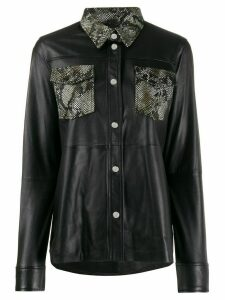 Stand Studio snakeskin effect shirt jacket - Black