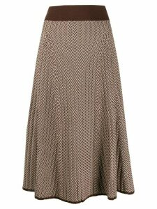 Polo Ralph Lauren herringbone pattern knitted skirt - Brown
