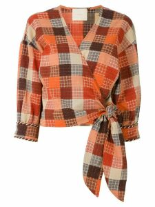 Framed Madeleine wrap blouse - ORANGE