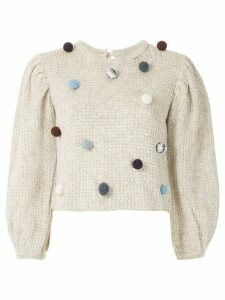 Framed Flocos knit blouse - NEUTRALS