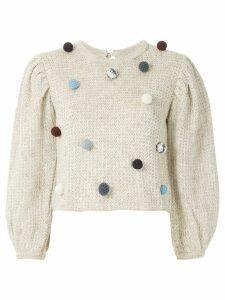 Framed Flocos knit blouse - NEUTRALS