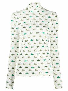 Lacoste logo turtle-neck top - White