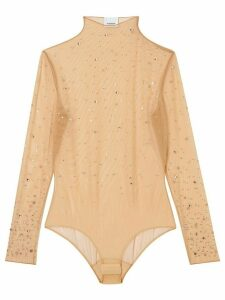 Burberry crystal-embellished tulle bodysuit - Neutrals