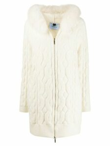 Blumarine fox fur hooded cardigan - White