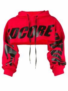 Mia-iam crop logo hoodie - Red