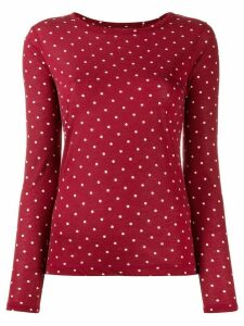 Semicouture polka dot print jersey top - Red