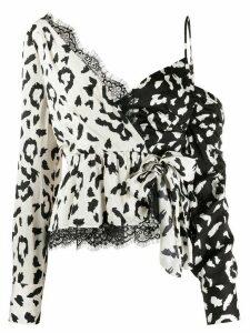 Self-Portrait leopard print blouse - NEUTRALS