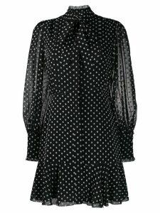 Alexis tie neck polka dot print dress - Black