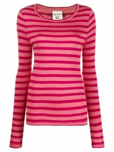 Semicouture striped stretch jersey top - PINK