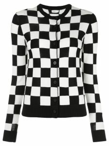Rosetta Getty checkered knit round neck cardigan - Black