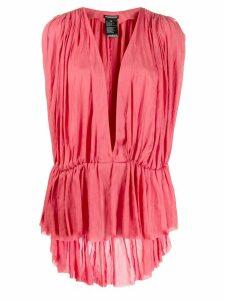 Ann Demeulemeester deep V-neck blouse - Pink