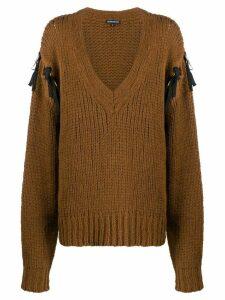 Ann Demeulemeester tied sleeve jumper - Brown
