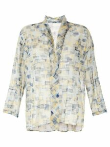 Des Prés geometric sheer blouse - Blue