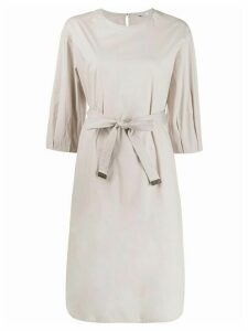 Peserico belted mid-length dress - NEUTRALS