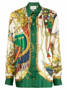 Gucci silk nature-inspired motifs shirt - NEUTRALS